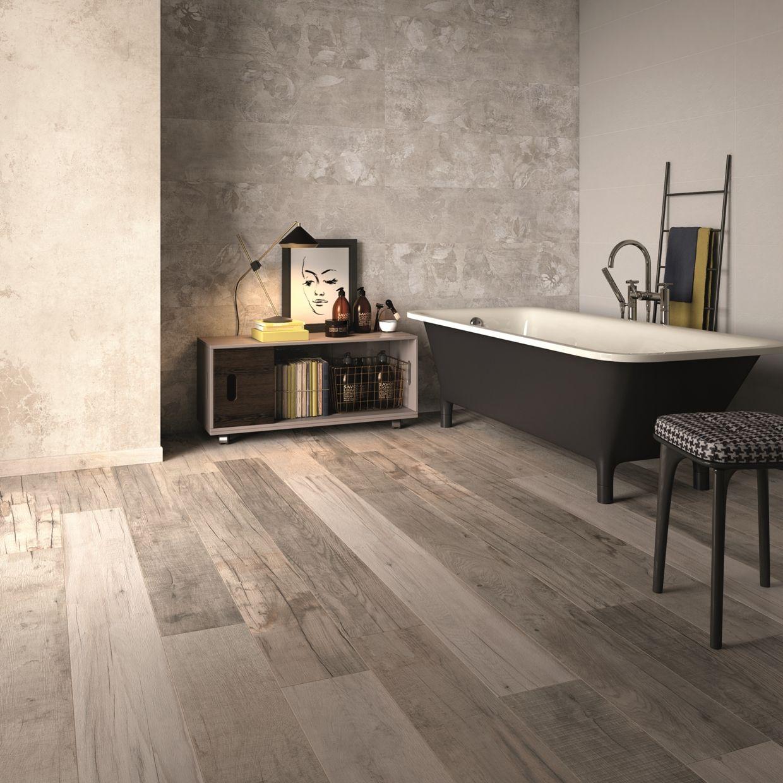 Pavimento Effetto Legno Rovere un vero mix&chic #abkemozioni in questo bagno dove a #parete