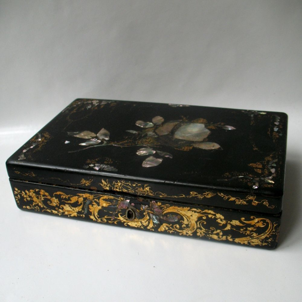 Boite Ancienne En Carton Bouilli Papier Mache Nacre Xix