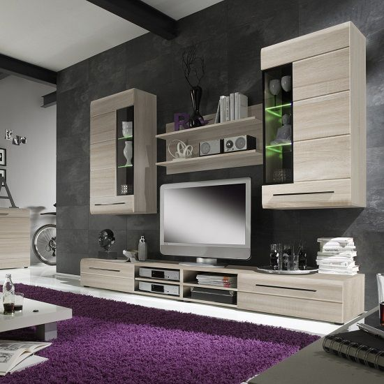 oak furniture set living room interior decoration designs madsen 1 in sonoma with led lighting dnevni