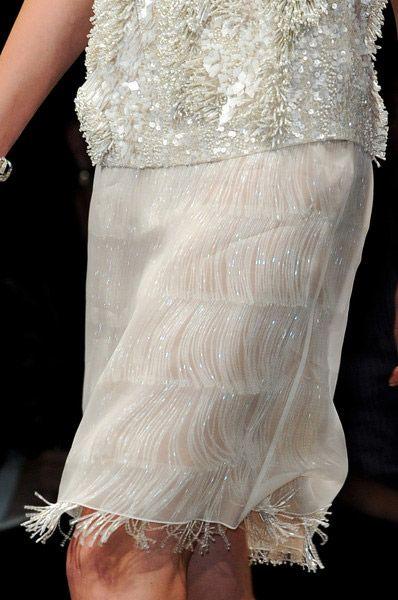 Fringe under SheerChiffon ,  Hidden Beauty under Sheer Skirt Trend for Spring Summer 2013.  Alberta FerrettiSpring Summer 2013.    #fashion #trends