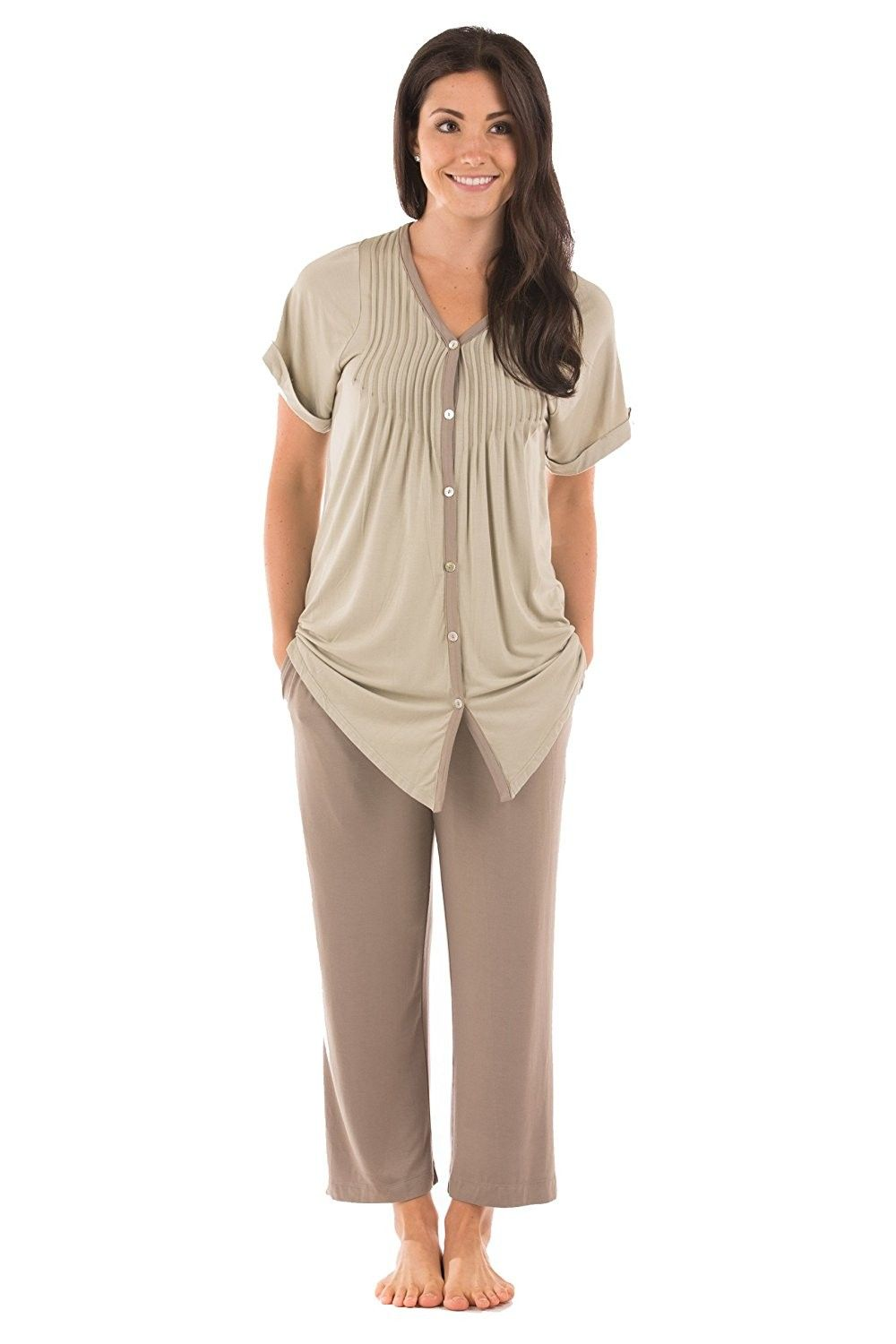 363a5b709dd9 Texere Women s Pajama Set Sleepwear - Luxury Nightwear for Her WB9992 -  Sand - C1187I8XNRN
