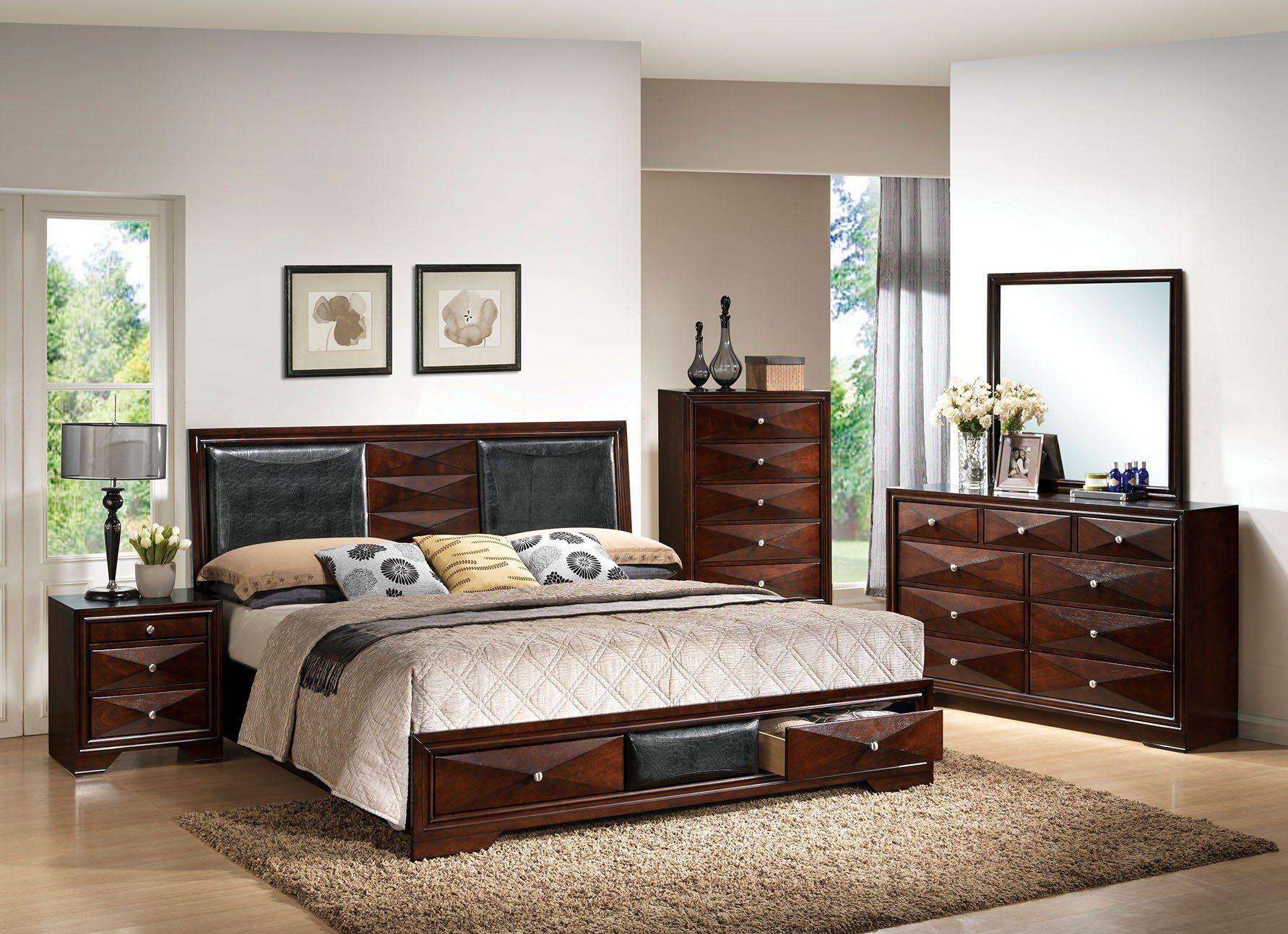 Acme 21910Q Windsor 4Pcs Merlot Queen Storage Bedroom Set ...