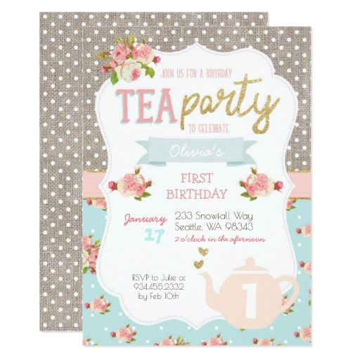 Tea Party Birthday Invitation  Tea Party Birthday Invitations