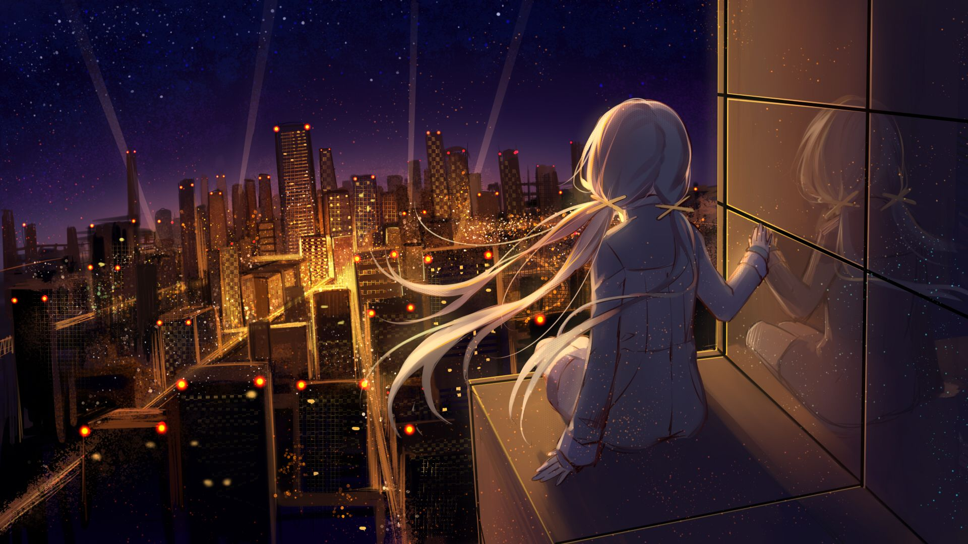 Sitting City City Lights Reflection Night Stars Anime Girls Anime Night Sky W In 2020 Anime Wallpaper Download Hd Anime Wallpapers Scenery Wallpaper