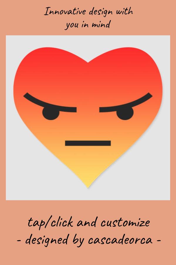 Angry React Heart Sticker Zazzle Com Heart Stickers Emoji Invitations Emoji Birthday Party