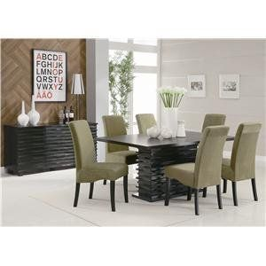 New Stanton Black Contemporary Dining Table Set With High Back Chairs