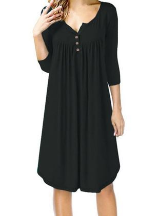 Plus Size Casual V Neck 34 Sleeve Dresses | dress | aws
