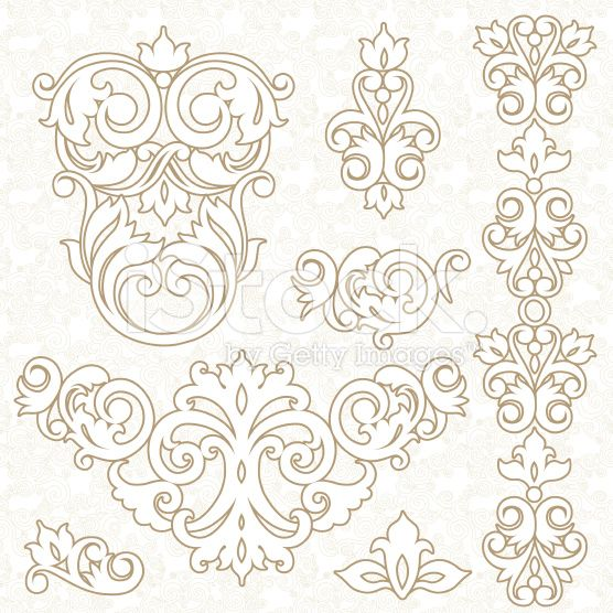 Vector Set Of Ornament In Victorian Style Ornate Elements For