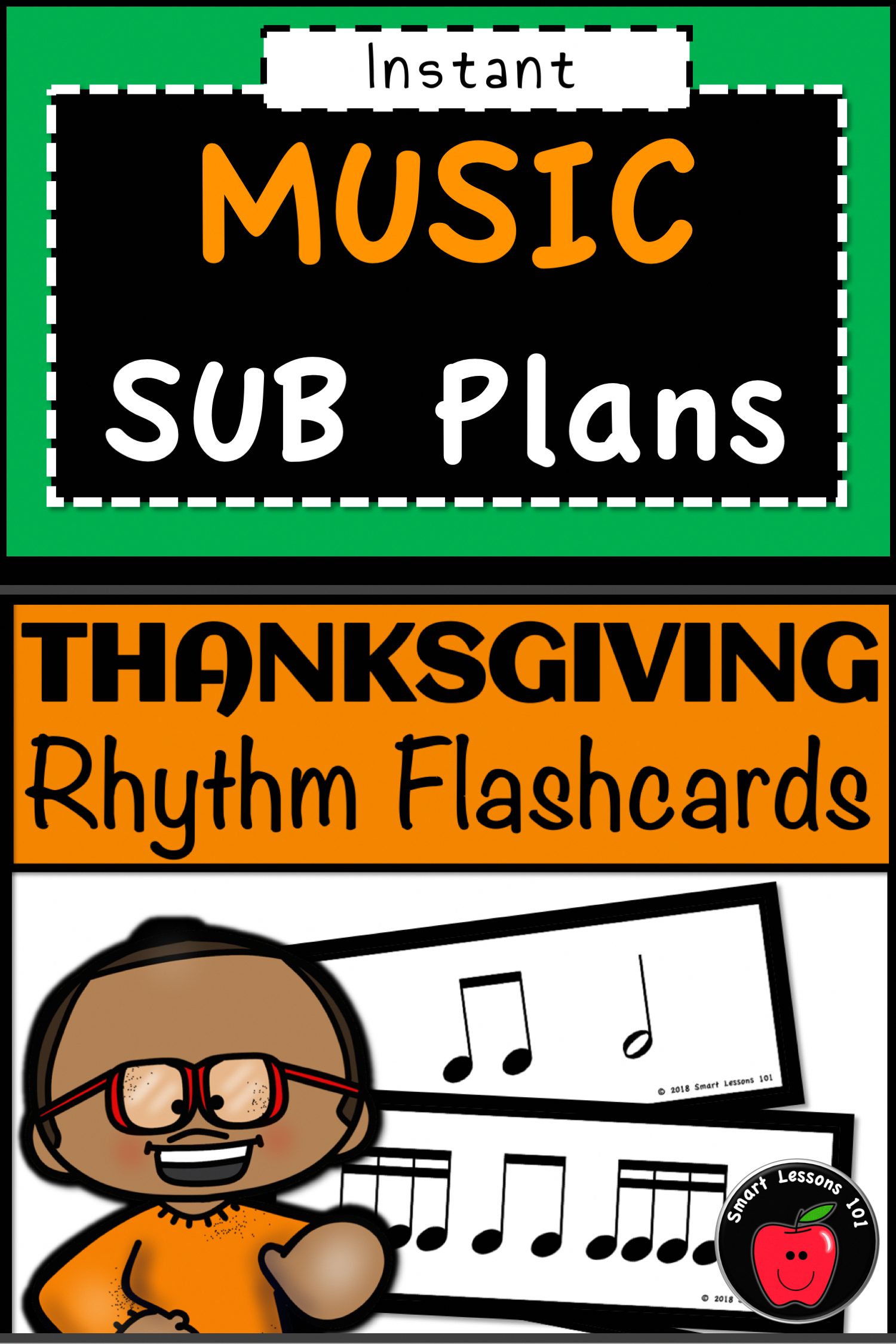 Ready To Use Thanksgiving Rhythm Activities Flashcard
