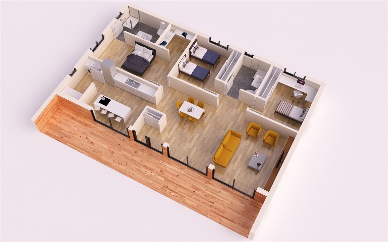 Moderna casa piloto 150m2 casas piloto donacasa for Casa moderna 90m2