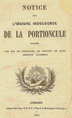 Notice sur l'indulgence de la Portioncule 1853