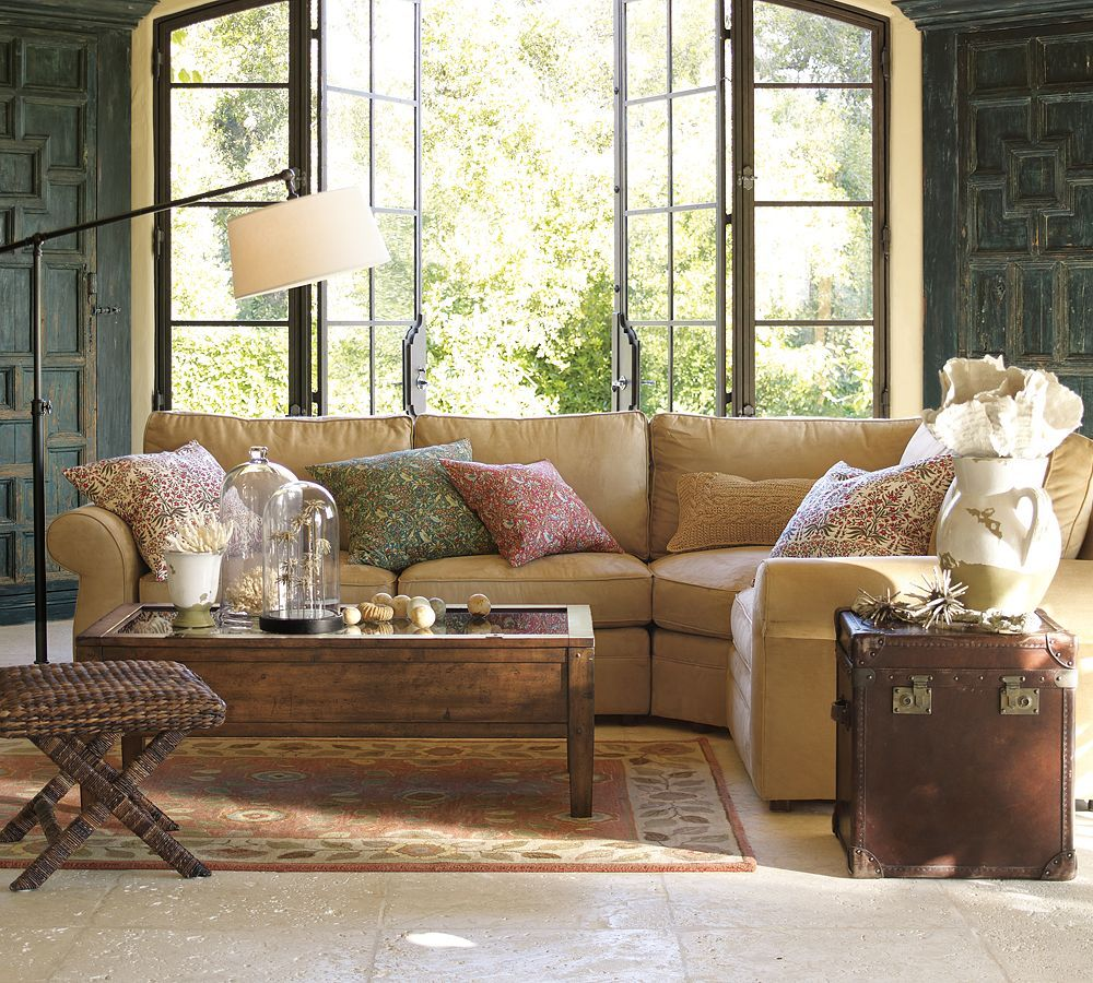 Pottery Barn Living Room With Carpet And Decorative Plant: Pottery Barn Living Room, Old Wood Shutters, Turquoise