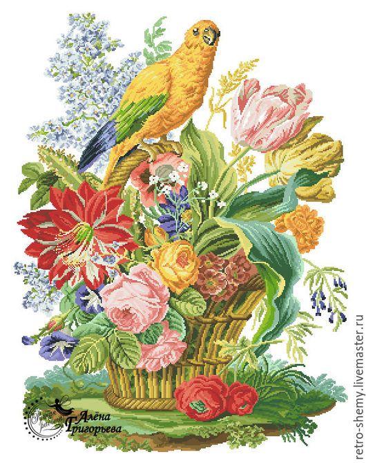 """Вышивка ручной работы. Ярмарка Мастеров - ручная работа. Купить Схема вышивки """"Попугай на цветочной корзине"""". Handmade. Схема для вышивки"""