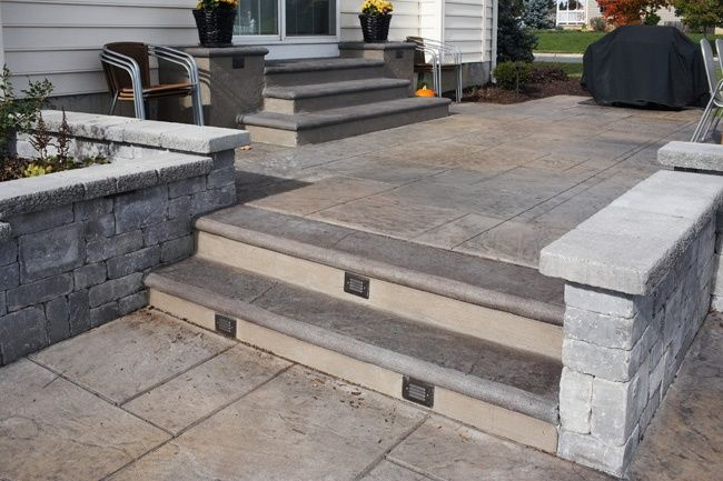 Patio Deck And Screen Porch Ideas Stamped Concrete Patio Patio Stairs Concrete Stain Patio
