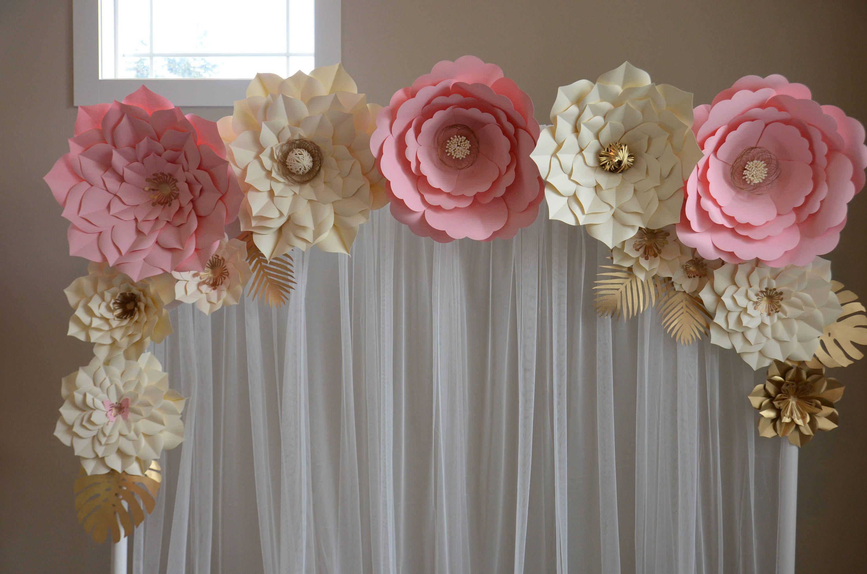 Paper flower backdrop Paper flower template DIY paper flower