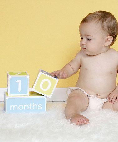 Blue Milestone Blocks Photo Prop Set Zulily Zulilyfinds Milestone Blocks Baby Age Blocks Monthly Baby Pictures