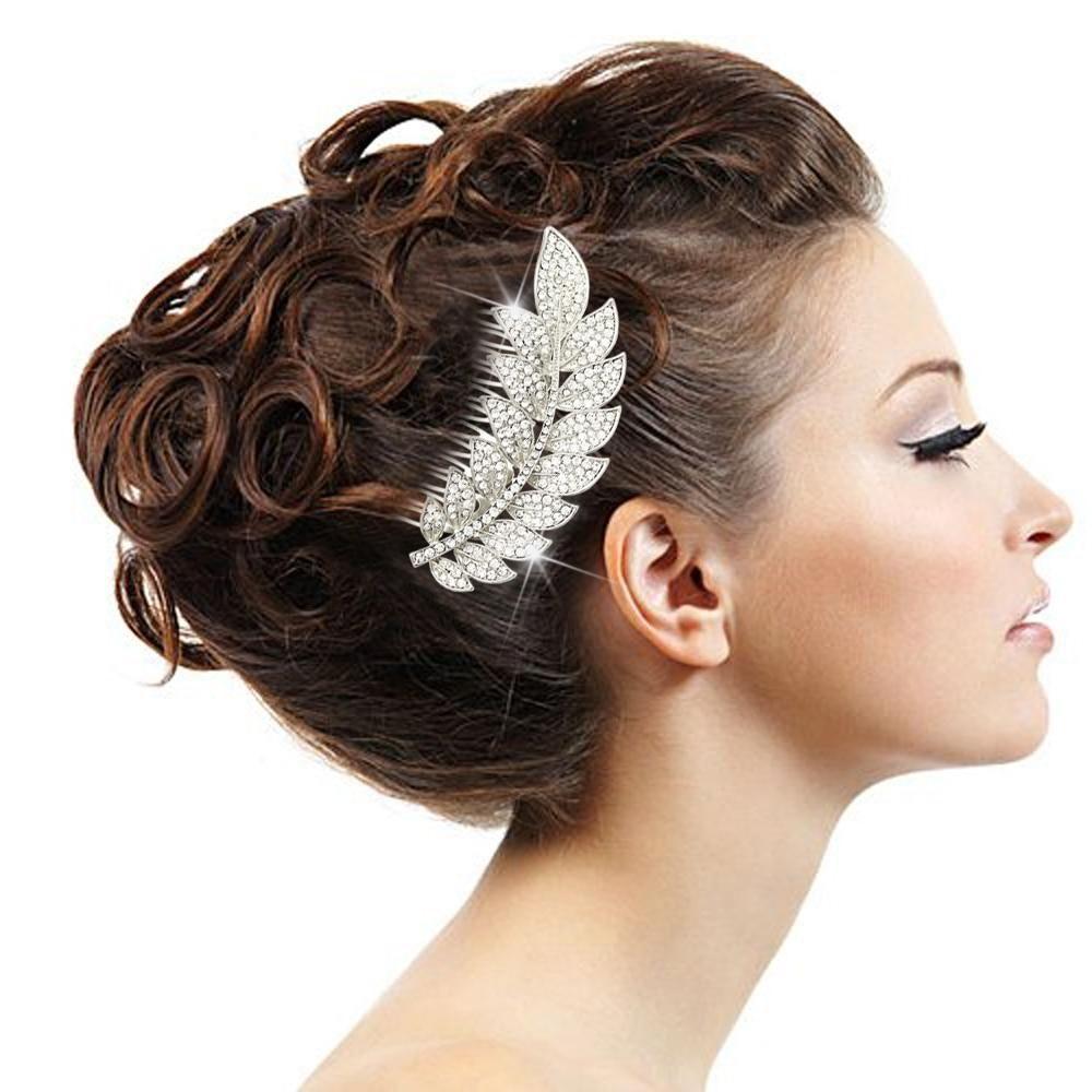 Photo of Bridal Diamante Encrusted Olive Leaf Fascinator Bling Hair P…