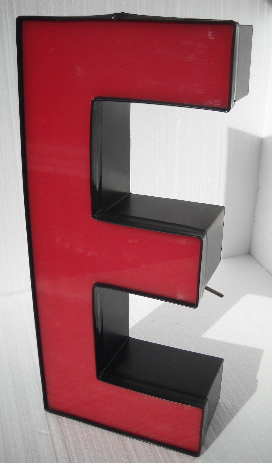 "Neon Wall Art reclaimed neon channel letter e 23.5"" metal marquee sign initial"