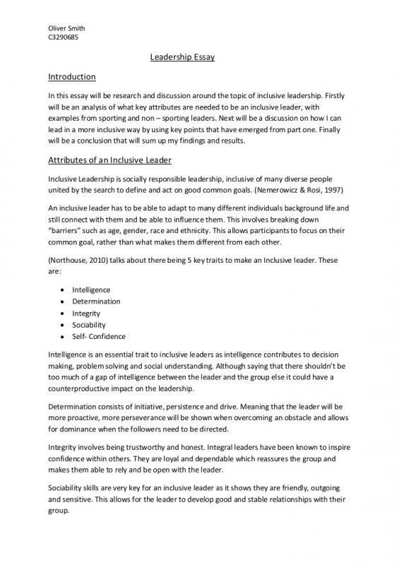 Leadership Essay Example Scholarship Examples