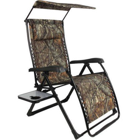 Mainstays Extra Large Zero Gravity Chair With Side Table And Canopy,  Texture Sling Fabric