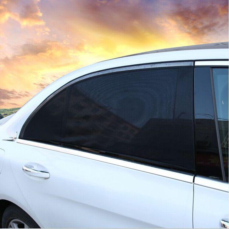 2pcs 5040cm adjustable car rear window sun shade black