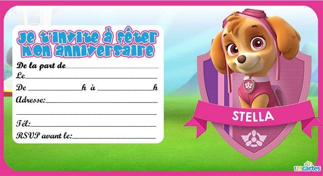 Invitation Anniversaire Stella De Pat Patrouille 4th Bday En 2019