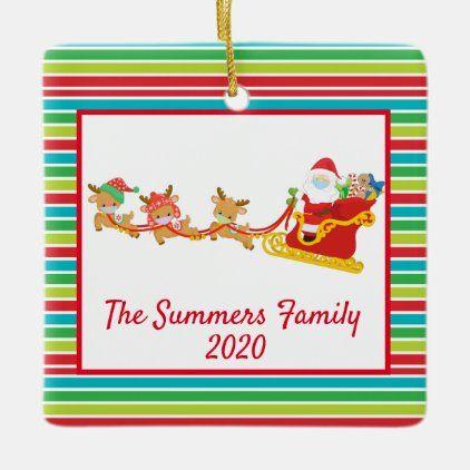 Christmas Face Mask Santa And Reindeer 2020 Ceramic Ornament Zazzle Com Santa And Reindeer Ceramic Ornaments Custom Holiday Card