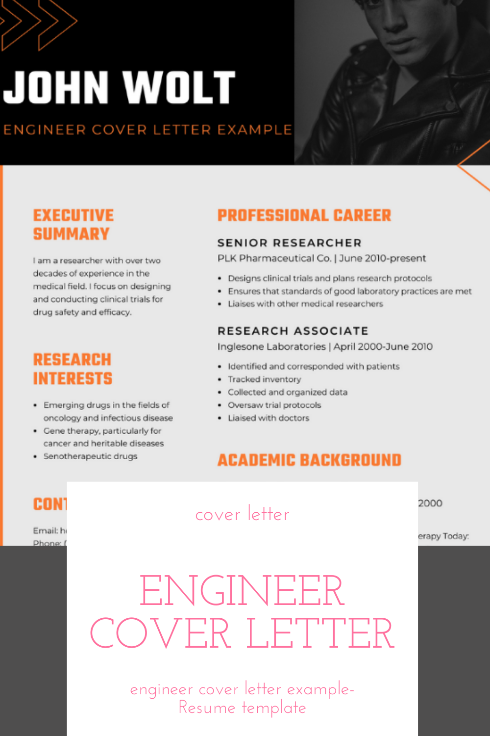 Engineer Cover Letter Example Resume 2021 Template For Engineer Cover Letter Example In 2021 Cover Letter Example Good Laboratory Practice Cover Letter