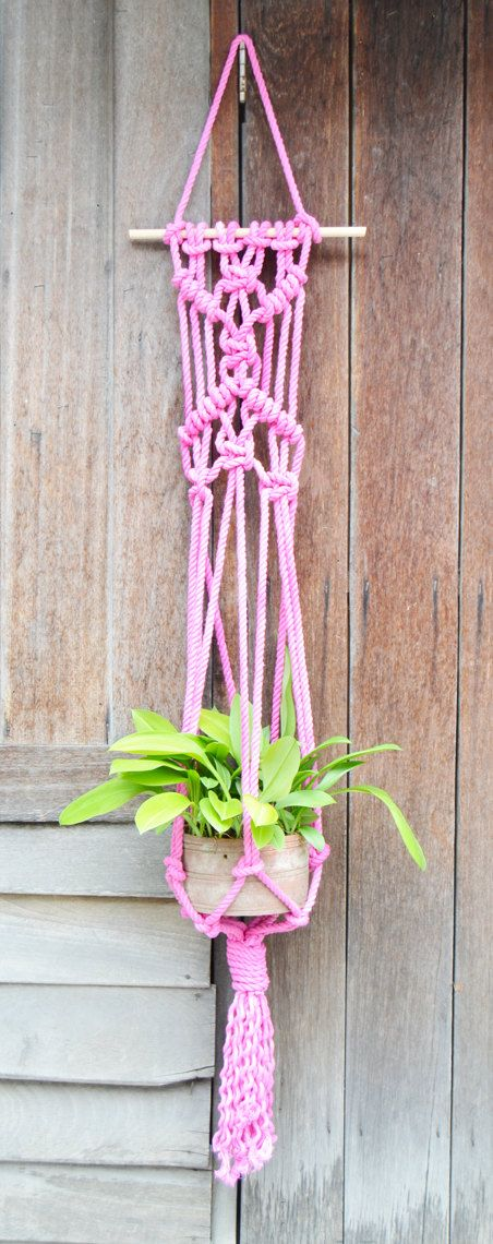 Flamingo hand dyed macrame plantanger by RanranDesign on Etsy