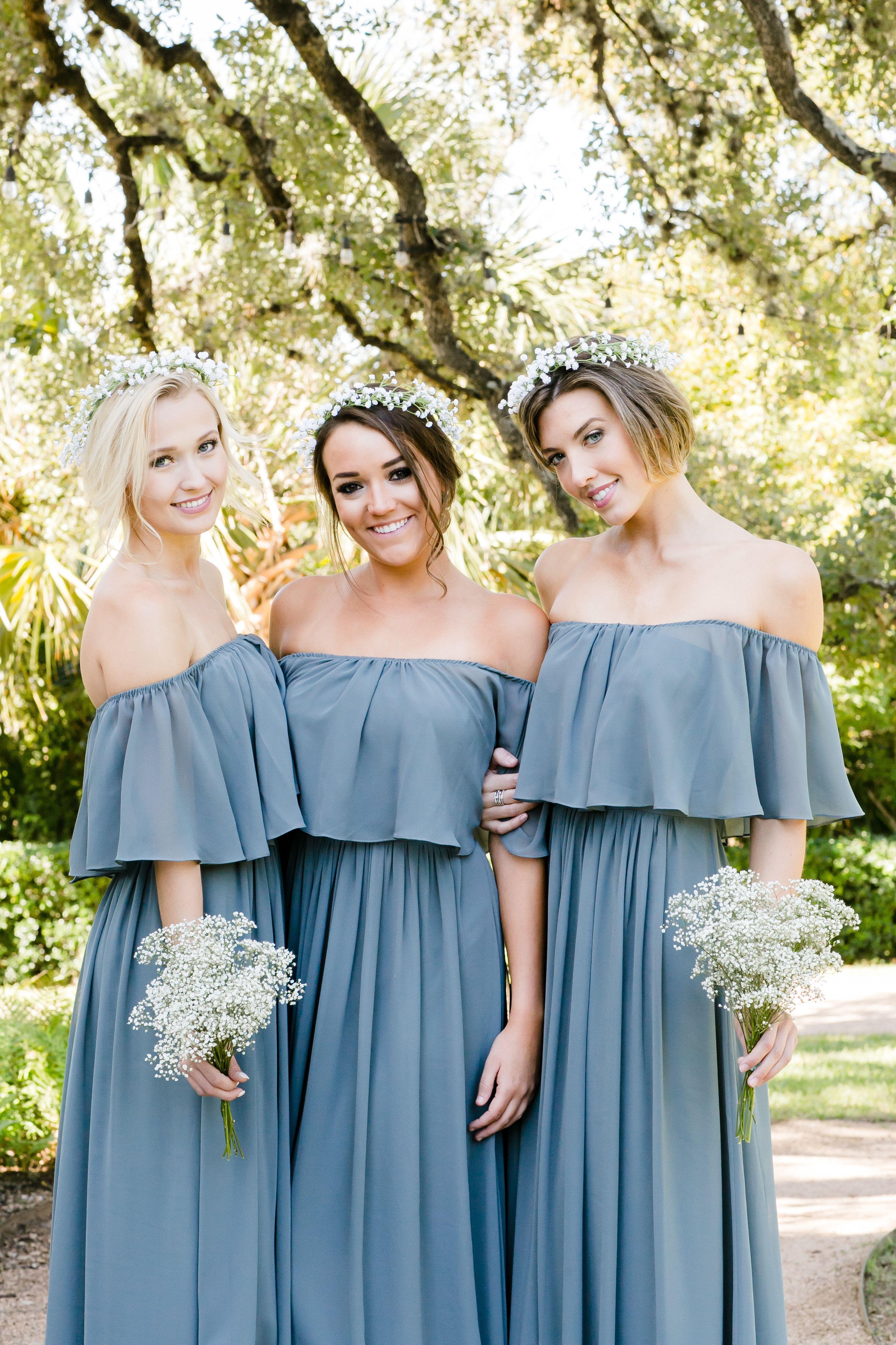 Dusty blue wedding dress  Boho off the shoulder bridesmaid dress Abigail from Revelry looks