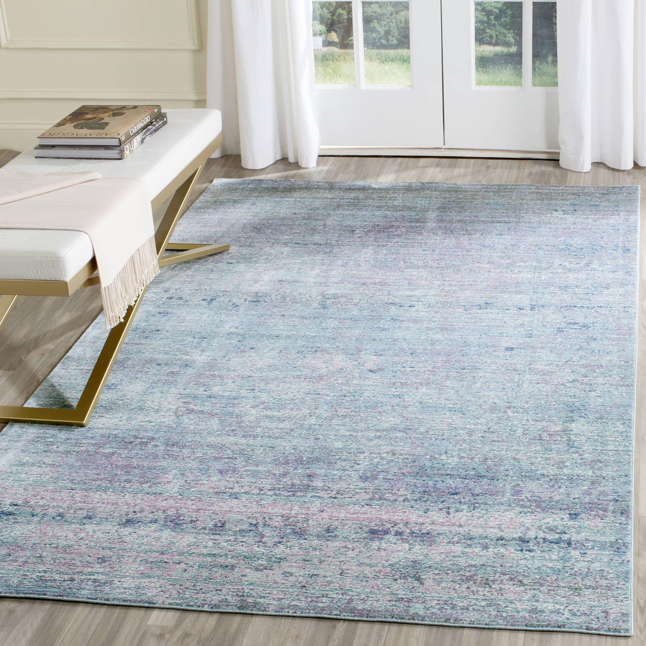safavieh mystique watercolor purple multi distressed silky polyester rug 5u0027 x 8u0027 mys920k5 size 5u0027 x 8u0027