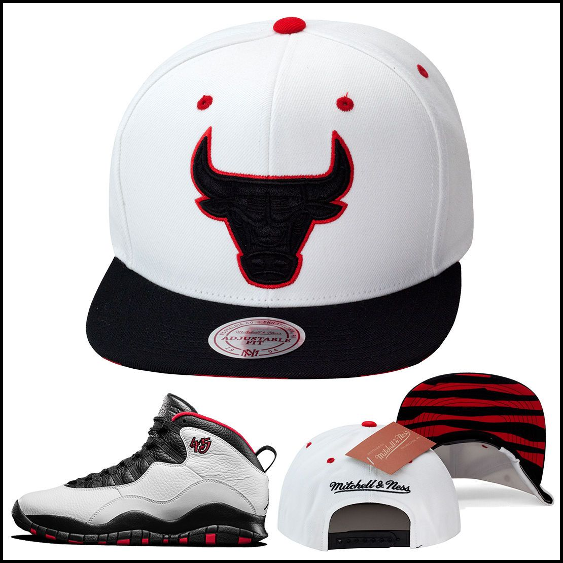 1449233e Mitchell & Ness Chicago Bulls Snapback Hat For Jordan 10 X Retro
