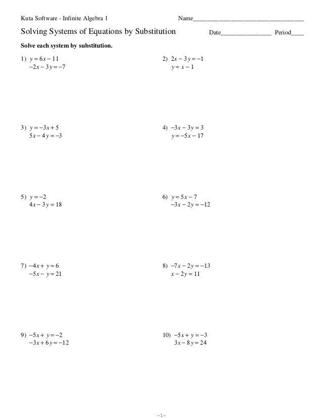 Substitution Method Worksheet Answers Solving Systems Equations By Substitution And Eliminati In 2020 Solving Linear Equations Systems Of Equations Graphing Worksheets
