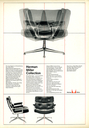 By Otl Aicher & Tomás Gonda, c. 1961, Herman Miller Collection, Lobby Chair, designed by Charles and Ray Eames.