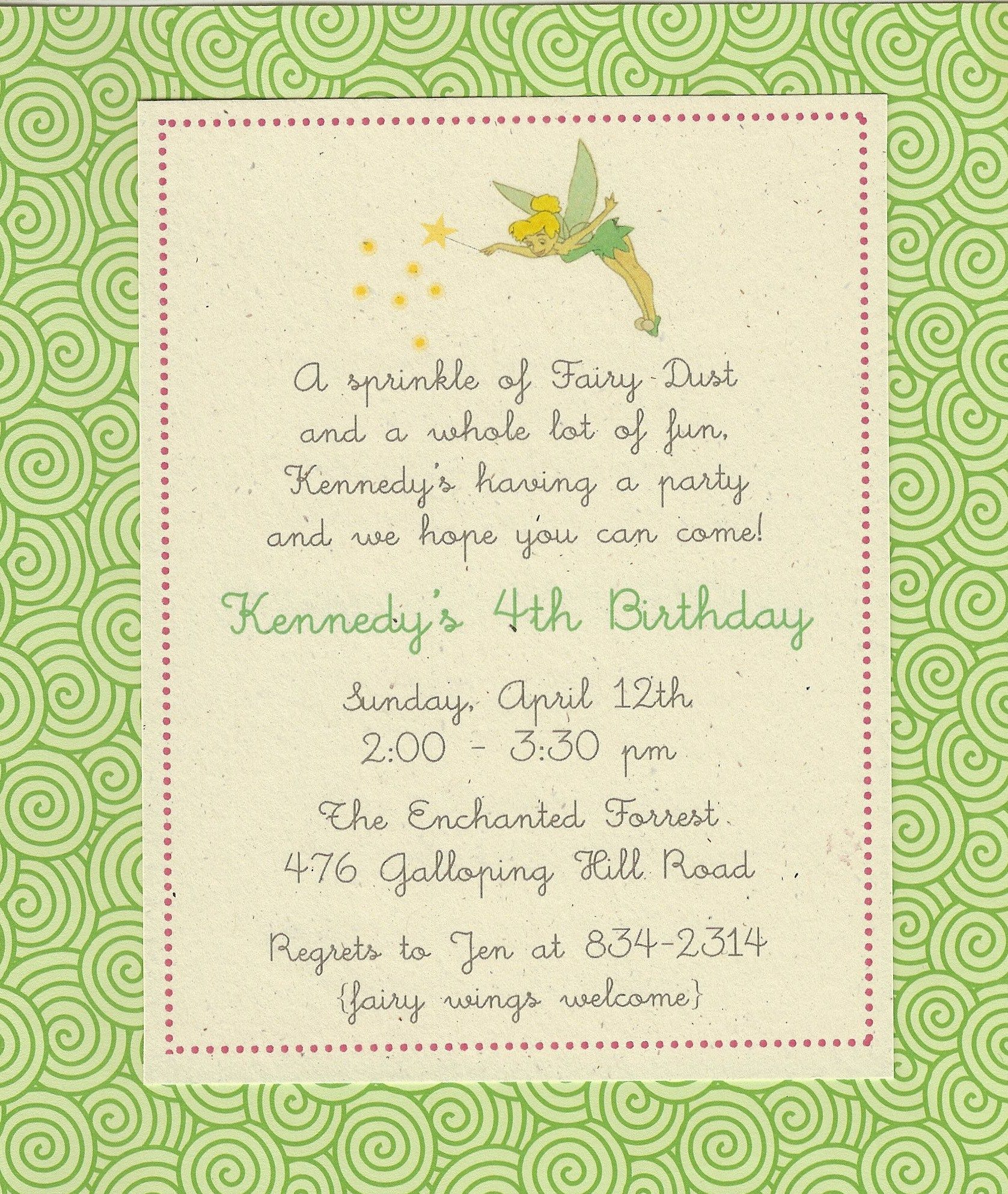 Tinkerbell Invitation. printed on 100% recycled card stock ...