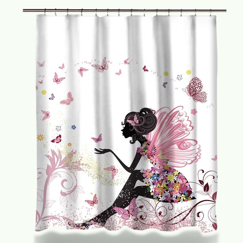 Shower Curtain That Will Bring Some Life To Your Bathroom Decor This Fairy And Butterfly Shower With Images Shower Curtain Fabric Shower Curtains Bathroom Shower Curtains