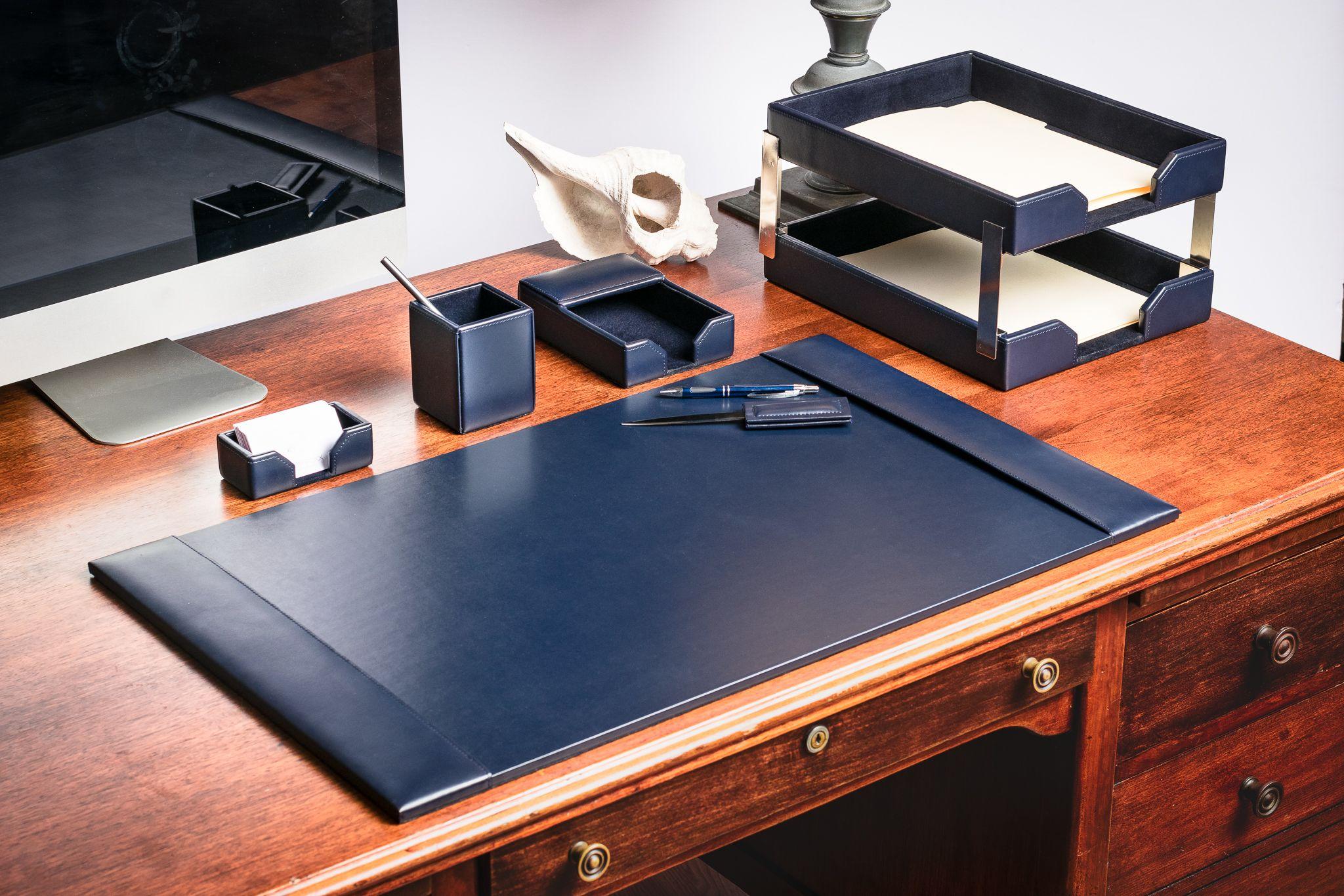 Navy Blue Bonded Leather Desk Set 8pc Leather Desk Desk Organizer Set Leather Desk Accessories