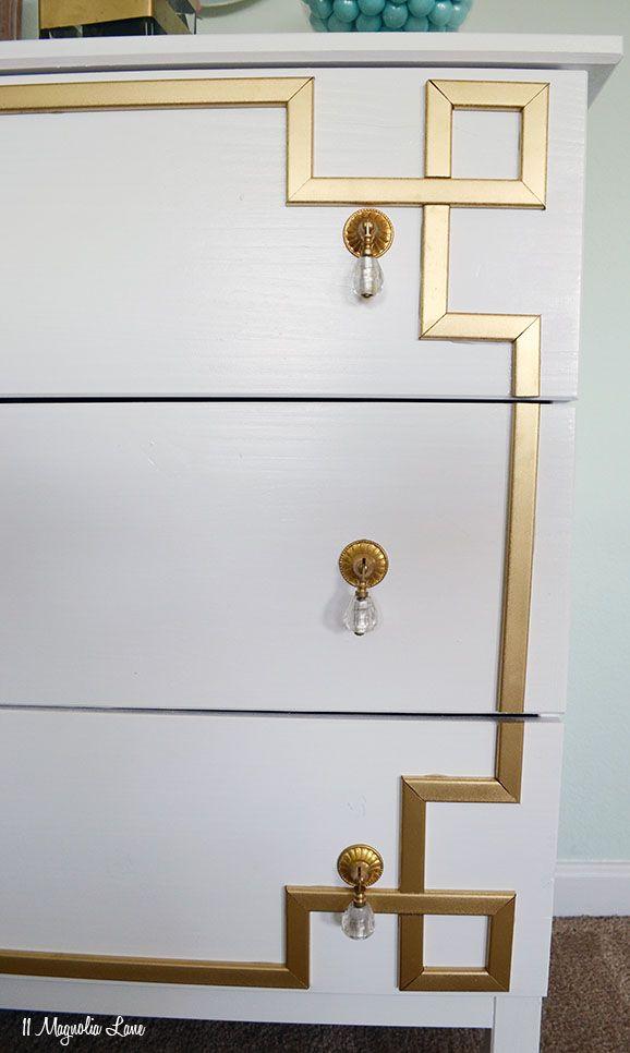 IKEA Dresser Hack: DIY Gold Greek Key Furniture Overlay