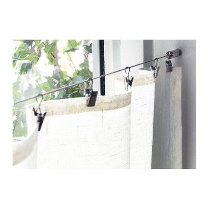 Wire Cable Curtain Rod System With Clips With Images Curtain