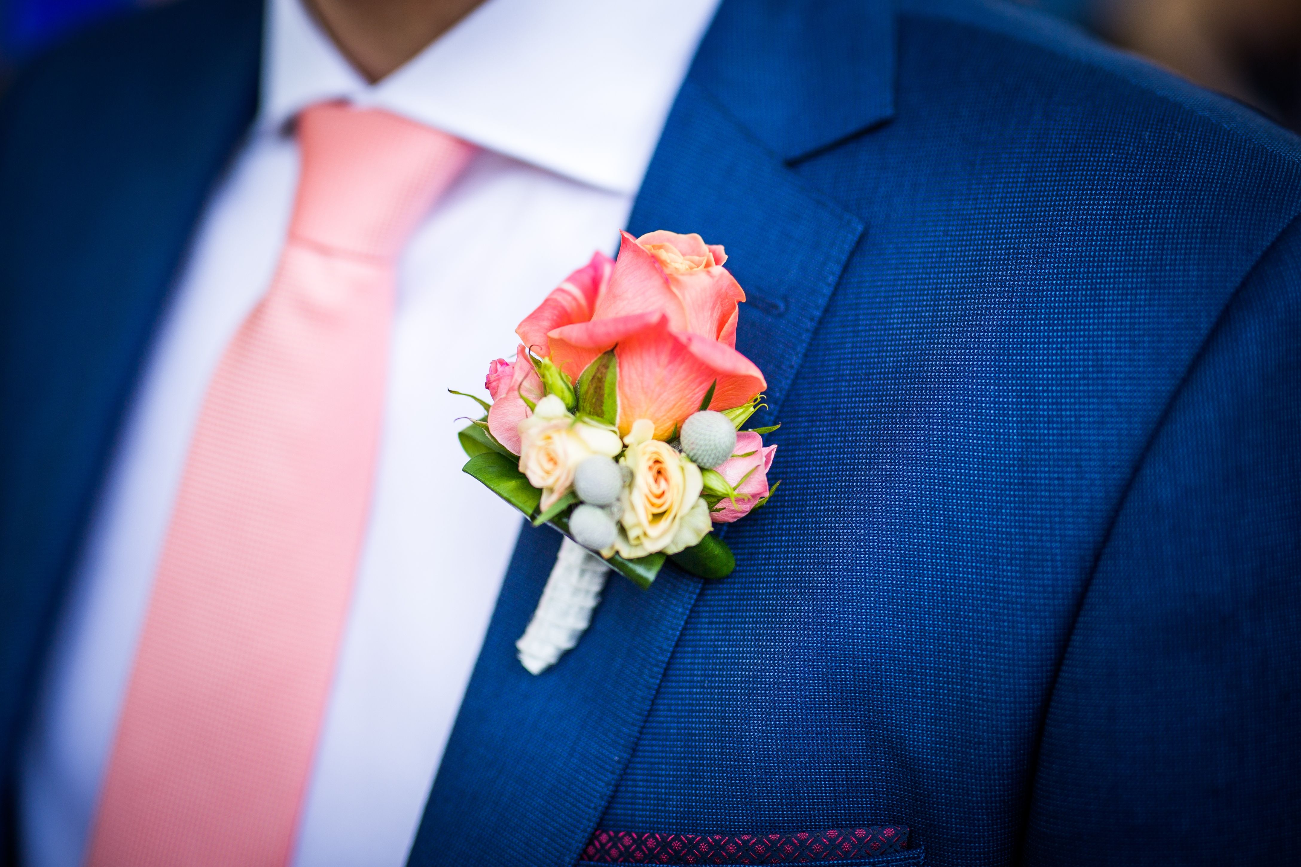 a224149e75ec Groom wedding blue suit peach pink tie and rose boutonniere ...
