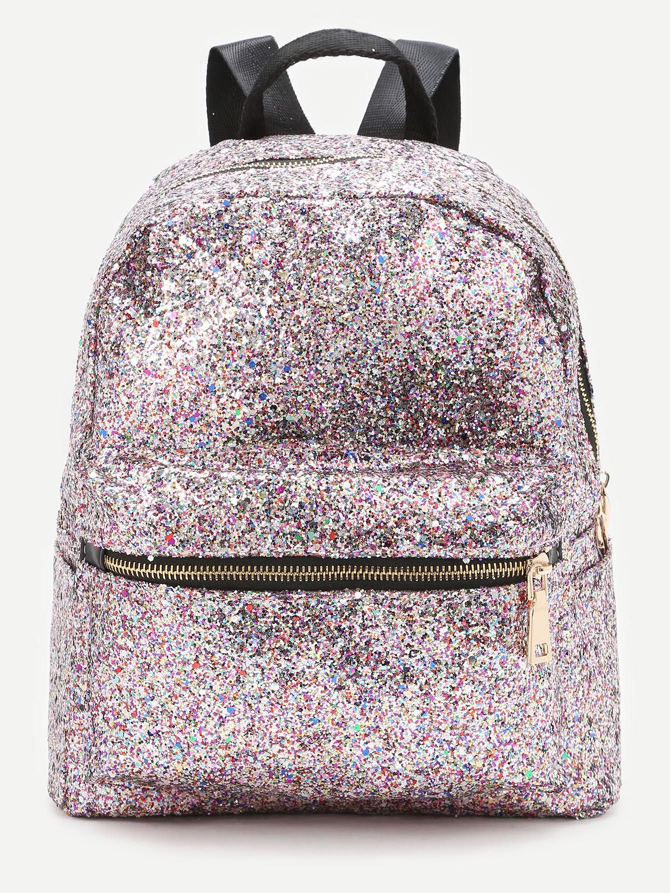11195d127a3e7 Shop Pink Front Zipper Glitter Backpack online. SheIn offers Pink Front  Zipper Glitter Backpack   more to fit your fashionable needs.