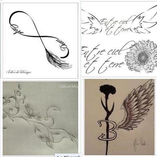 croquis pour tattoo de filles d 39 ailes plumes infini et papillons arabesques belle au naturel. Black Bedroom Furniture Sets. Home Design Ideas
