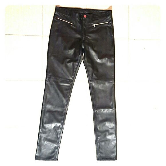H&M Faux Leather Pants New (with tag)  Stretch Imitation Leather Zip Fly, Slim Legs Seams at Knees Machine Wash Cold H&M Pants Skinny