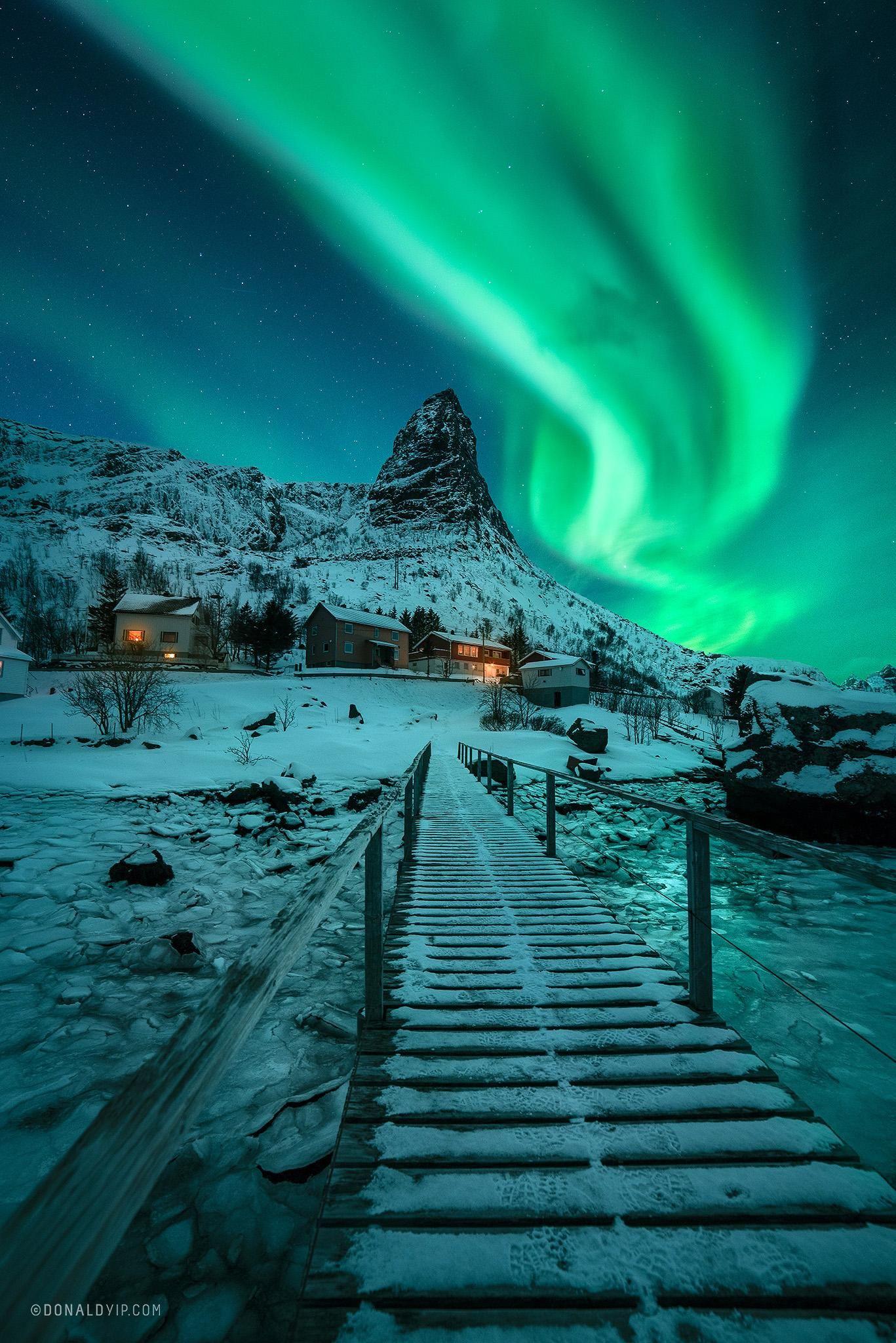 Aurora Borealis over Reine, Lofoten Islands [OC]