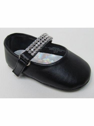 Infant Girls Black Shoe w/ Rhinestone Strap