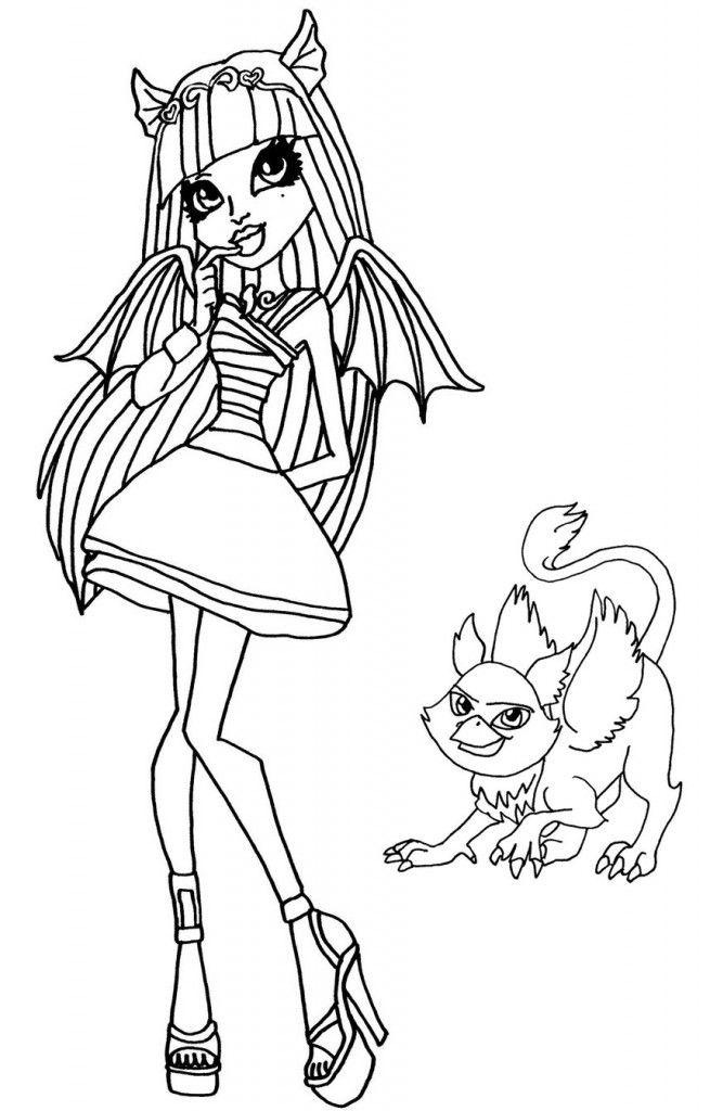 Dibujos para colorear de Monster HighRochelle Goyle y su grgola
