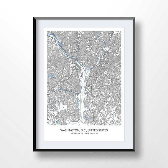 WASHINGTON MAP Map Of Washington Dc Town Map Usa Print Places - Washington dc map usa