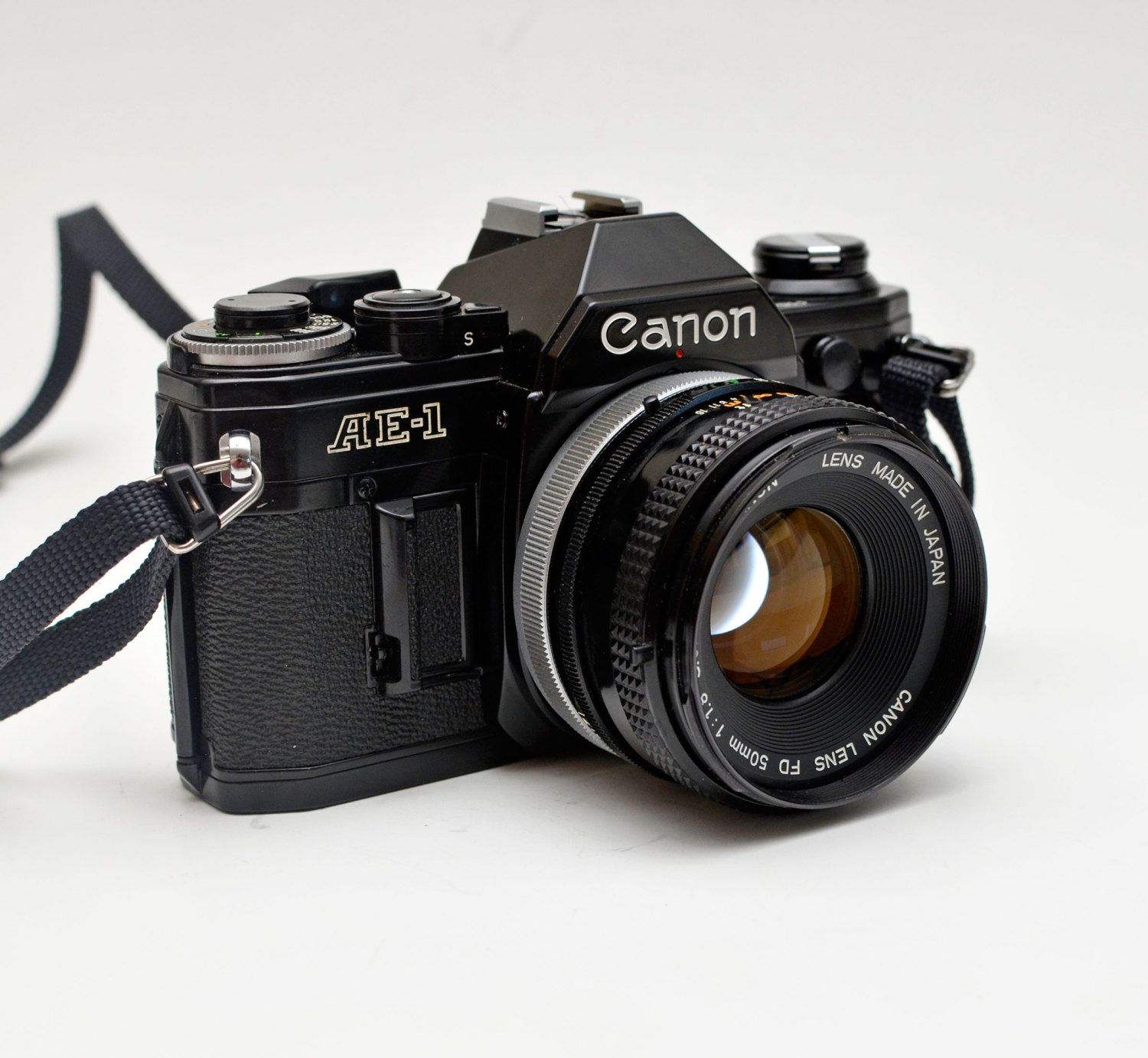 Film Camera Black Body Canon Ae 1 35mm Film Slr Camera With Canon F1 8