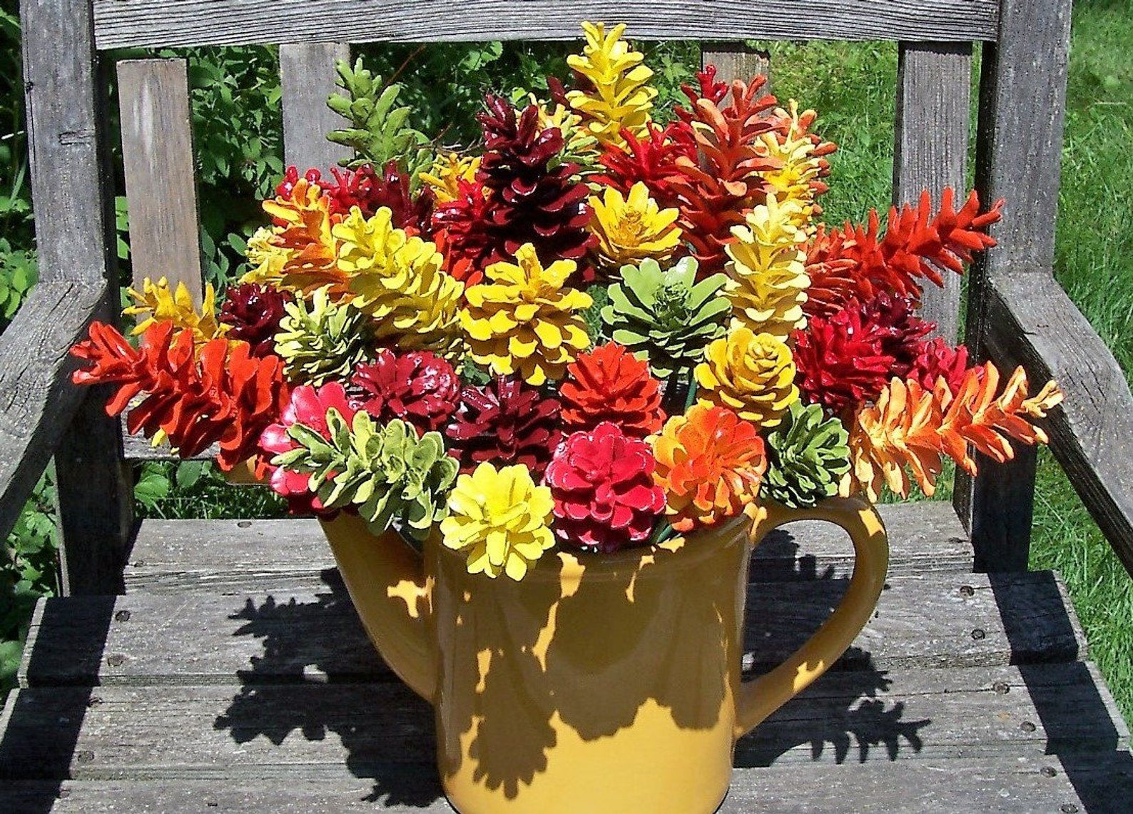 Fall Pine Cone Flowers, ONE DOZEN, on 12-inch stems. Thanksgiving Decor. High-quality. Autumn #pineconeflowers