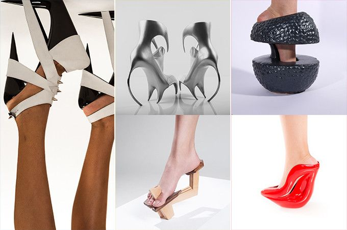 """An art display in New York City titled """"A Walk of Art: Visionary Shoes"""" showcases radical new shoe designs. These works throw out typical shoe design and create something completely uni…"""